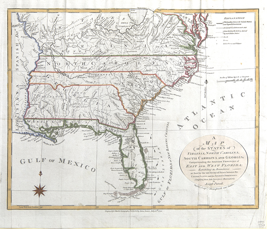 A Map of the States of Virginia North Carolina South Carolina and