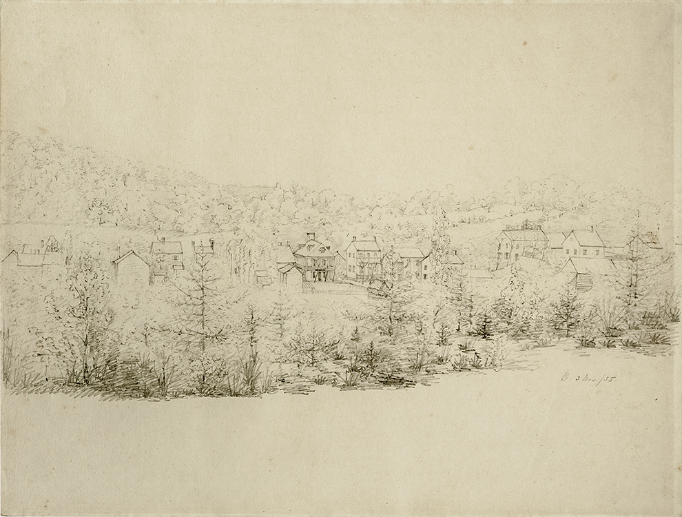Pencil Drawing of Bethania, North Carolina 1855 Maximilian Grunert (1826-1887) Graphite on paper Bethania, North Carolina Old Salem Museums & Gardens (2468.4) Gift of G. Wilson Douglas