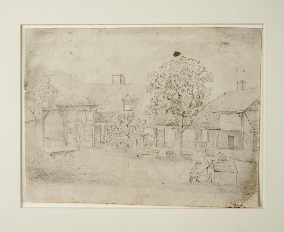 Petersen Yard circa 1860 Artist unknown Salem, North Carolina Graphite on paper Old Salem Museums & Gardens (3626) Gift of Mrs. T.J. Boyd