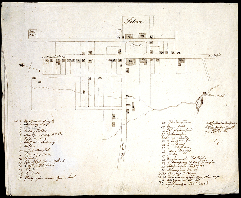 Plan of Salem circa 1798 Artist unknown Salem, North Carolina Ink on paper Old Salem Museums & Gardens (5319)