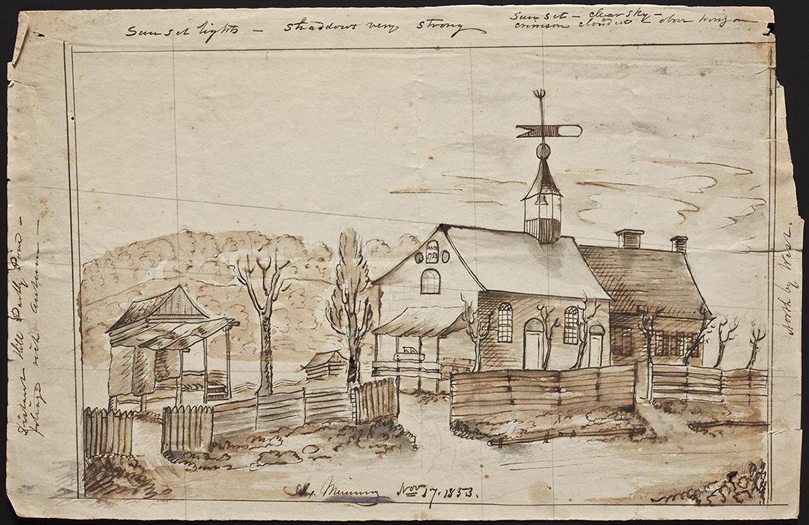 Sketch of Bethabara 1853 Alexander Meinung (1823-1908) Bethabara, North Carolina Ink on paper Old Salem Museums & Gardens (5711.3) Gift of Cleve and Deborah Harris