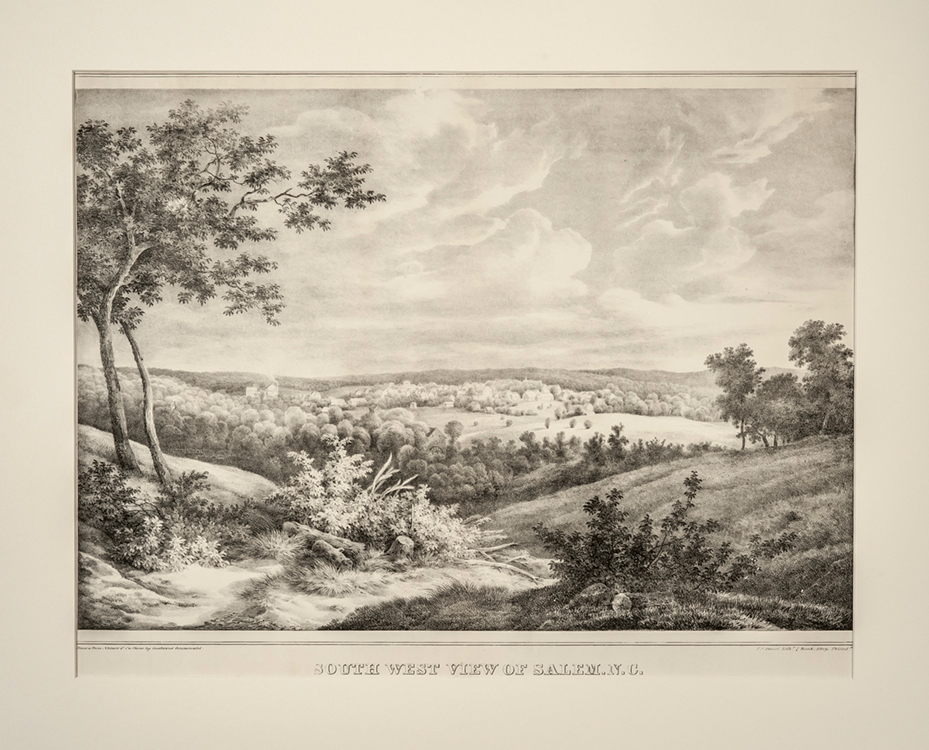 South West View of Salem, N.C. 1839 Drawn from nature by Gustavus Grunewald (1805-1878) Published by P.S. Duval Philadelphia, Pennsylvania Ink on paper Wachovia Historical Society (P-311)