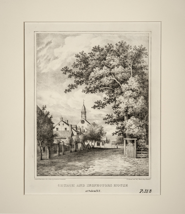 Church and Inspectors House at Salem, N.C. 1839 Drawn from nature by Gustavus Grunewald (1805-1878) Published by P.S. Duval Philadelphia, Pennsylvania Ink on paper Wachovia Historical Society (P-318)