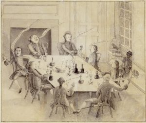 """Mr. Peter Manigault (1731-1773) and His Friends George Roupell (d.1794) St. James, Goose Creek, South Carolina c.1760 Ink and wash drawing on paper HOA: 10 3/16; WOA: 12 3/16"""" Courtesy, Winterthur Museum, museum purchase, 1963.73"""