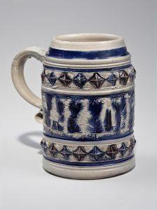 """Mug Westerwald, Germany 1700-1730 Cobalt-decorated stoneware HOA: 5 ½"""" Gift of Frank L. Horton (2894)"""