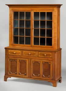 "Cupboard John Swisegood (1796-1874) Davidson County 1820-1835 Walnut, light wood inlay, cherry, yellow pine, tulip poplar HOA: 85 3/4"", WOA: 62"", DOA: 20 3/8"" MESDA Purchase Fund (2127)"