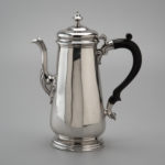 "Coffeepot Alexander Petrie (c. 1707–1768) and Shop 1750–1760 Charleston, South Carolina Silver and wood HOA: 10 3/8"", WOA: 9"", DOA: 4"" Gift of Frank L. Horton (2507)"