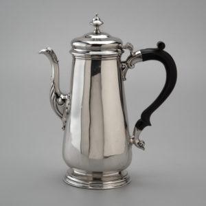 "Coffeepot Alexander Petrie (c. 1707–1768) and Shop 1750–1760 Charleston, South Carolina Silver and wood HOA: 10 3/8"", WOA: 9"", DOA: 4"" Gift of Frank L. Horton (2507)"