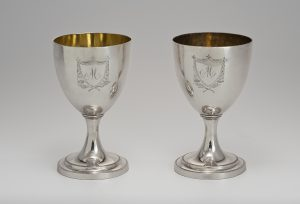 "Pair of Goblets William Ball (d.1815) 1790-1810 Silver and gold wash HOA: 7"" Gift of Mr. and Mrs. Thomas S. Douglas III (2783.1-2)"