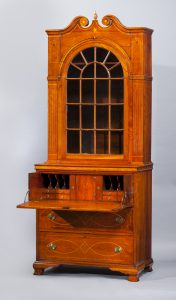 "Secretary and Bookcase Attributed to John Wills Lincoln or Gaston County 1790-1800 Cherry, walnut, light wood inlay, yellow pine HOA: 105 1/4"", WOA: 43 1/2"", DOA: 23 1/2"" Gift of Mr. and Mrs. Frank Borden Hanes, Sr. (2845)"