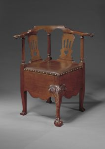 "Corner Commode Chair Robert Walker (c. 1710–1777) and Shop King George County, Virginia 1755–1760 Mahogany HOA: 31 ¾"", WOA: 30 ¼"", 26"" Gift of Frank L. Horton (2921)"