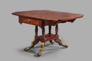 "Breakfast Table James Woodward (1769–1839) and Shop Norfolk, Virginia 1819 Mahogany, poplar, white pine, sycamore HOA: 27 5/8"", WOA: 50 ¾"", DOA: 38"" MESDA Purchase Fund (3813)"