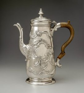 "Coffeepot Alexander Petrie (c. 1707–1768) and Shop Charleston, South Carolina 1750–1760 Silver and wood HOA: 10 7/8"", WOA: 9"", DOA: 4 3/8"" MESDA Purchase Fund (3996)"