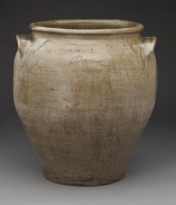 "Storage Jar David Drake (c. 1781 – c. 1870) 1858 Edgefield County, South Carolina Alkaline-glazed stoneware HOA: 24 1/4"", WOA: 22"", DIA: 17 9/16"" MESDA Purchase Fund (4317)"