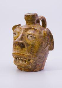 "Face Jug 1855 - 1865 Edgefield District, South Carolina Alkaline-glazed Stoneware HOA: 5 7/8"", WOA: 4 5/16"" MESDA Purchase Fund (5366)"
