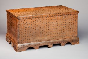 "Blanket Chest Wilkes County 1850-1860 Poplar and paint HOA: 20 3/4"" Given in memory of Butrice Johnson Luffman by her daughters Winnie Luffman, Jean Luffman Humber and Lucy Luffman Dearing (5547)"