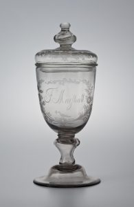 "Covered Goblet John Frederick Amelung (1741-1798) 1792 Colorless non-lead glass HOA: 10 ¾"" Wachovia Historical Society (C-105)"