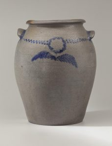 "Storage Jar Thomas Amos (1786-1822) for the Richard Randolph Manufactory Four Mile Creek, Henrico County, Virginia 1821-1822 Salt-Glazed Stoneware HOA: 12 1/2"", WOA: 10 1/2"" Loan courtesy of Colonial Williamsburg"