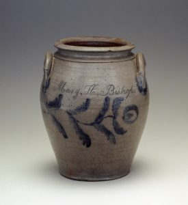 "Storage Jar Inscribed ""Mary H. Bishop"" Attributed to Samuel Frayser (1787-1849)  at the  former Richard Randolph Manufactory  or the Frayser Pottery (after 1824)  Four Mile Creek, Henrico County, Virginia  1821-1849  Salt-Glazed Stoneware  Private Collection"