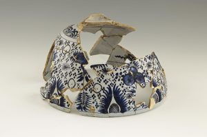 Punchbowl Excavated at Rosewell Plantation, Gloucester County, Virginia Dutch 1680-1700 Delft Loan courtesy of the Rosewell Foundation