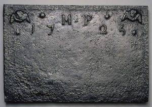 "Fireback Tubal Furnace 1725 Spotsylvania County, Virginia Cast iron HOA: 24"", WOA: 36 ¼"", DOA: 7/8"" MESDA Purchase Fund (acc. 3956)"