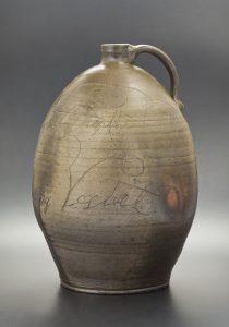 "Brandy Jug Jessee Vestal (b.1829) Washington County, Virginia 1849 Salt Glazed Stoneware HOA: 18"" Loan Courtesy of the William King Museum, Abingdon, Virginia"