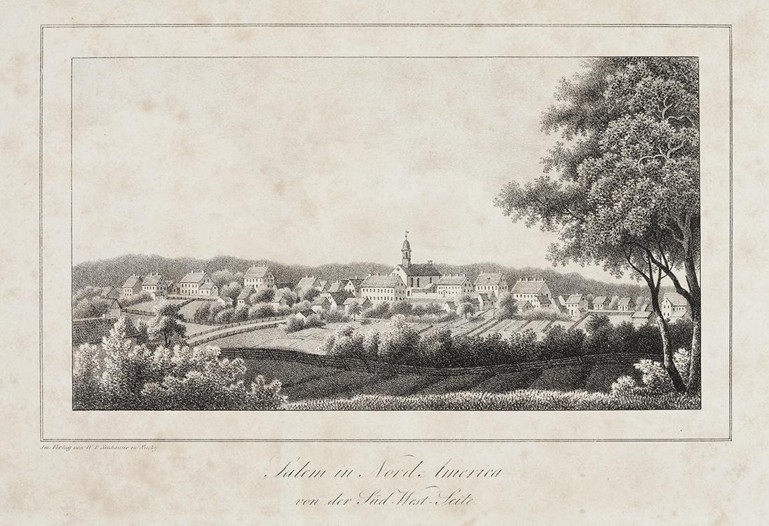 Salem in Nord Carolina von der Süd West-Seite circa 1819 Published by W.T. Neuhäuser Niesky, Germany Ink on paper Old Salem Museums & Gardens (101) Gift of Mr. Frank L. Horton