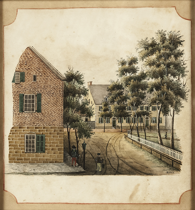 View of the Corner of Academy and Main Street 1846-1849 Henry Jacob Van Vleck (1823-1906) Salem, North Carolina Watercolor and ink on paper Old Salem Museums & Gardens (5268) Anne P. and Thomas A. Gray Moravian Decorative Arts Purchase Fund