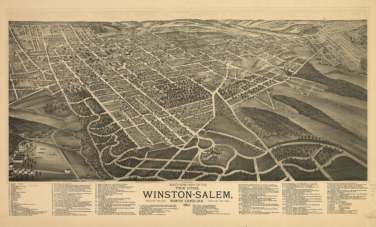 Bird's-eye view of the twin cities, Winston-Salem, North Carolina 1891 1891 Joseph John Stoner (1829-1917) and Albert Ruger (1828-1899) Madison, Wisconsin Ink on paper Wachovia Historical Society (5797)