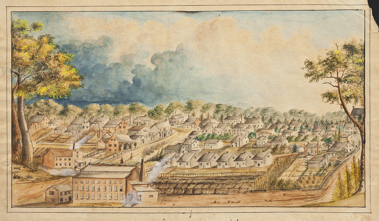 View of Salem from the West circa 1852 Possibly Mary Steiner Denke (1792-1868) Salem, North Carolina Watercolor on paper Wachovia Historical Society (P-17) Gift of Mr. Fred Bahnson