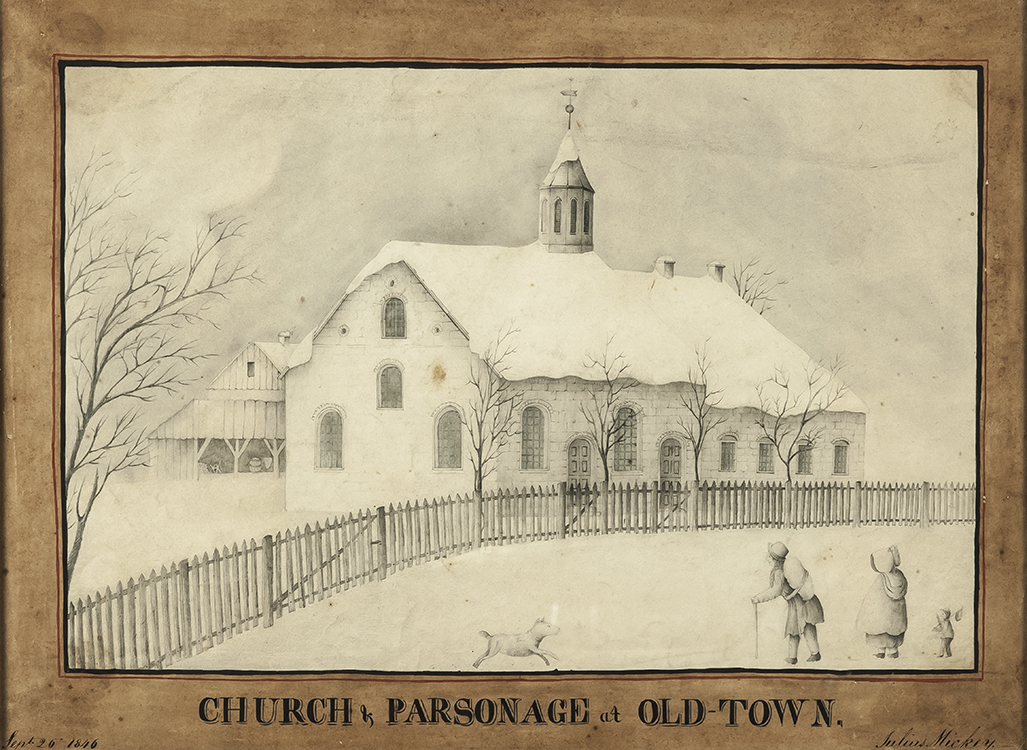 Church & Parsonage at Old Town 1846 Julius Mickey (1832- 1916) Bethabara, North Carolina Graphite on paper Wachovia Historical Society (P-456)